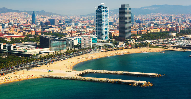 La plage Barceloneta á Barcelone