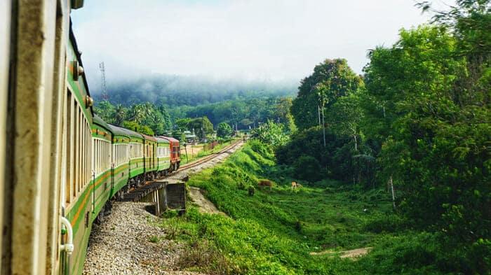 Un train en route pour Surat Thani d'où part le ferry pour Koh Samui