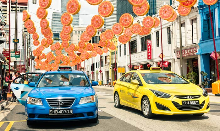 En taxi de Singapour à Malacca
